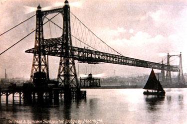 Widnes and Runcorn Transporter Bridge by moonlight, 1910s