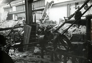 Bomb damage to Widnes Bus Depot in Moor Lane during WWII