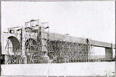 Runcorn and Widnes Railway Bridge under construction