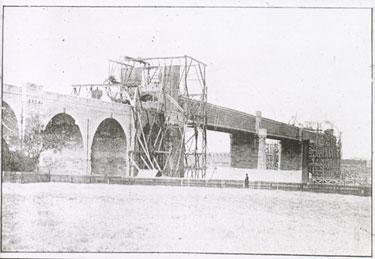 Runcorn and Widnes Railway Bridge under construction