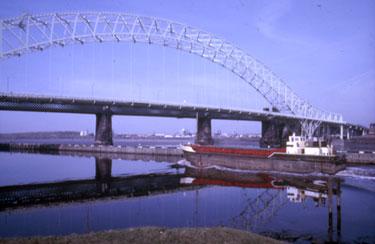 Ship on Ship Canal approaching bridge