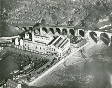 Aerial view of West Bank Power Station and railway viaduct
