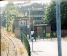 Runcorn Station, looking S to signal box from W end of footbridge.
